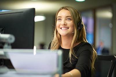 Young woman working at computer