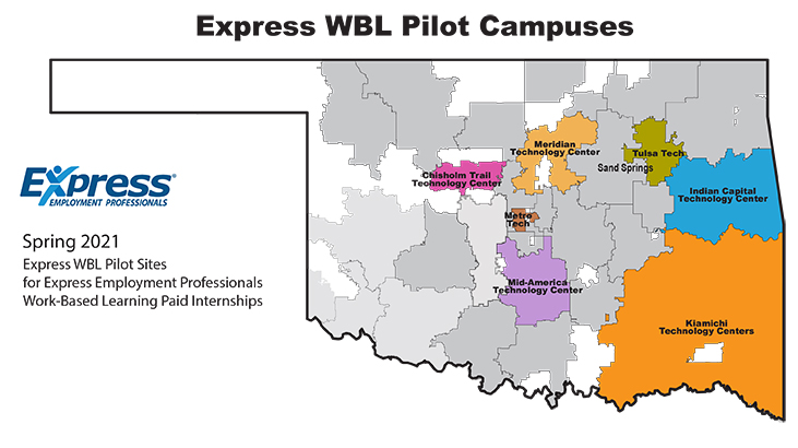 Map of school districts for Express WBL pilot project