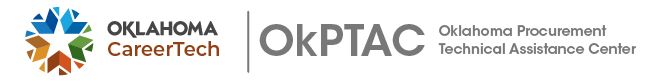 Oklahoma Procurement Technical Assistance Center divisional logo with white background (side-by-side) is for use on website and electronic communications