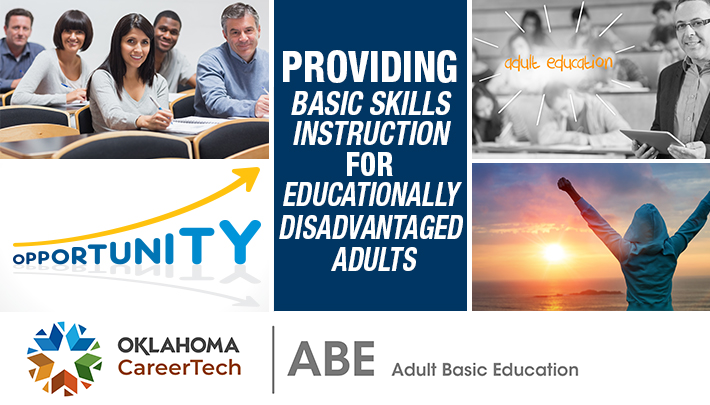 """The Adult Basic Education divisional banner consists of 5 images: adult students in taking class notes, opportunity growth upward arrow, adult students in a classroom, adult student raising arms in victory looking at the sunset, and a quote that reads """"providing basic skills instruction for educationally disadvantaged adults."""""""