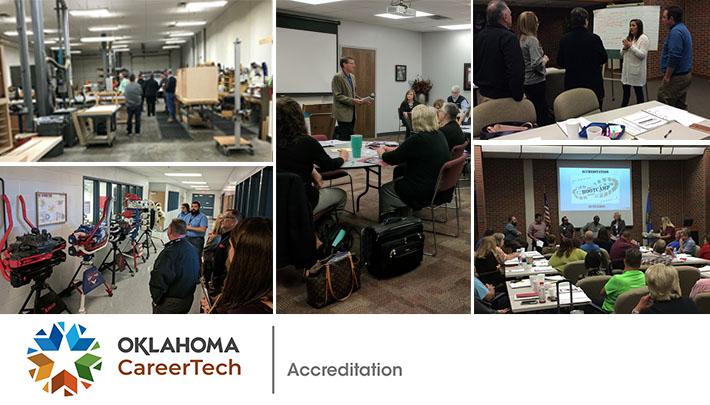 Accreditation Web Banner consists of 5 pictures of accreditors while accessing programs at technology centers.