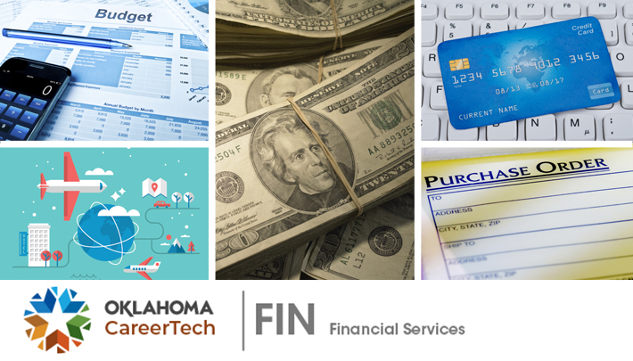 Financial Services Website Banner has 5 images: a budget spreadsheet with a calculator; a world globe with lines circling it; stacks of money; a credit card; and a purchase order receipt