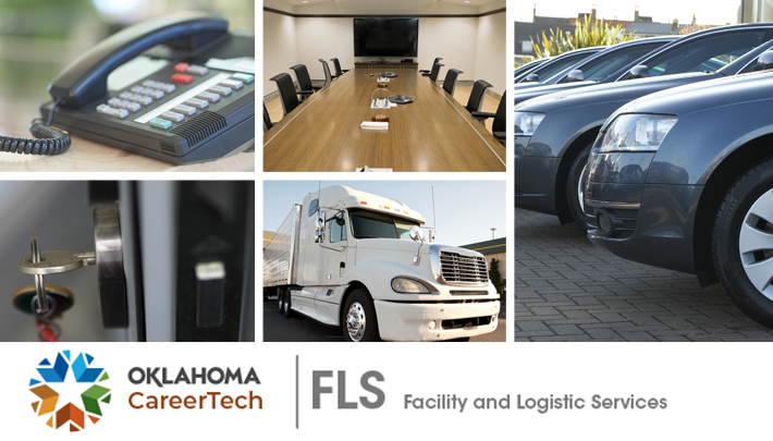 Facility Services Website Banner has 5 images: black multi-line telephone, keys hanging in a door lock, an empty conference room, a white semi-truck and trailer, and the front-end view of a fleet of charcoal gray company cars