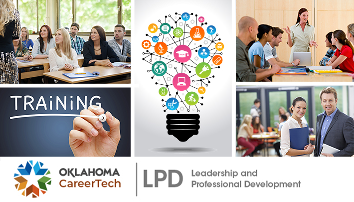 """Leadership and Professional Development Website Banner has 5 images: adult students sitting in a classroom; the word """"training"""" written on a chalkboard; a lightbulb with icons pertaining to education and the world inside; high school students sitting in a classroom; business professionals in the workplace"""