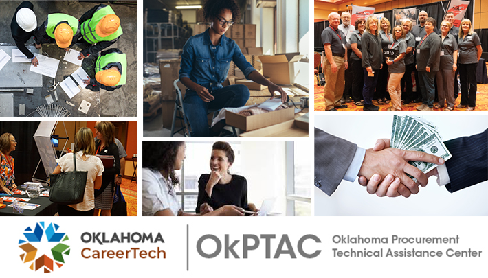 Oklahoma Procurement Technical Assistance Center website banner images: 4 people wearing hardhats, female at workstation, OkPTAC staff photo, 2 ladies talking another lady at a vendor fair, 2 women talking at a desk, handshake with money between hands