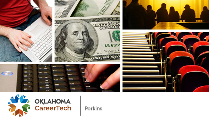 Carl Perkins website banner contains 5 images: a male keyboarding on a laptop; currency; a female keyboarding on a laptop; empty stadium seating; sillouhettes of people across a darkened room