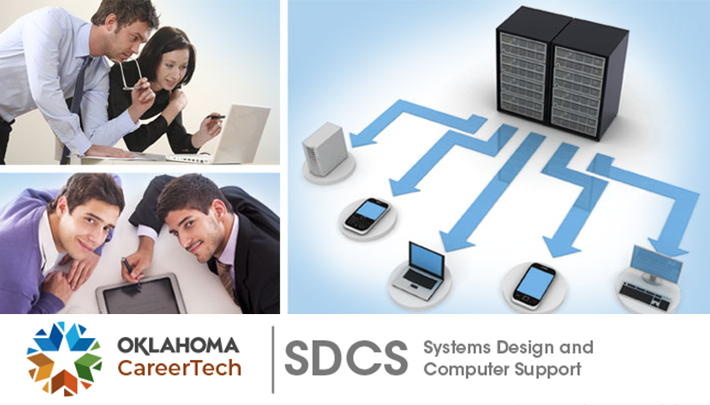 SDCS Website Banner has 3 images: male and female looking at the screen of a laptop; two males using an iPad; two server racks with arrows pointing to a computer, tablet phone, laptop, smart phone and a CPU