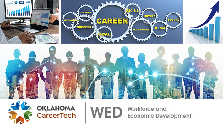 Workforce and Economic Development banner contains 4 images: electronic devices with data graphs; gear wheels with words suck as goal, career, future, strategy, skill, etc.; bar graph with an upward arrow; silhouettes of workers representing several career fields with a skyline background