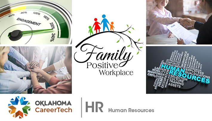 The Human Resources Website Banner has 5 images: an engagement gauge reading 230 percent; several people with arms outstretched and hands laying on top of each other to indicate they are a team; two people shaking hands while one holds a resume; a collage of words pertaining to human resources; and the logo for a Family Positive Workplace