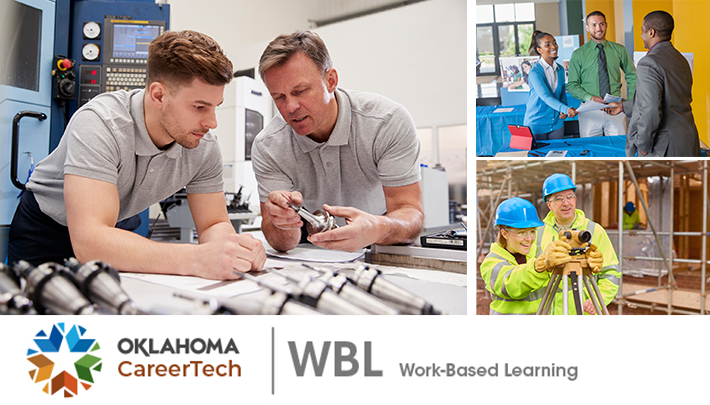 Work-Based Learning Website Banner contains 3 images: 2 men studying a machine part, a woman and man talking to a male company representative at a vendor fair, and a man and woman wearing hardhats and reflective jackets looking at land