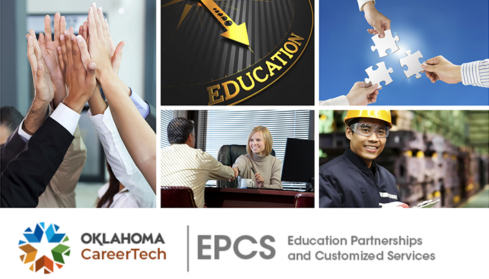 Business & Industry - Education Partnerships and Customized Services Website Banner contains 5 images: group of hands coming together reaching for the sky; education clock; puzzle pieces fitting together; male and female shaking hands across a desk; male in hardhat holding a clipboard