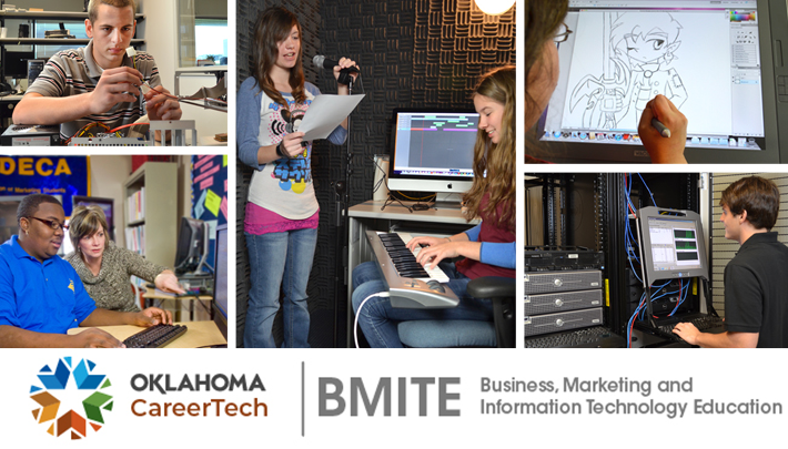 Business, Marketing and Information Technology Website Banner has 5 images: male IT student working with computer wiring, female instructor and male student looking at a computer screen, 2 female students recording audio in a sound booth, graphic arts student drawing a picture, male IT student observing network traffic on a monitor