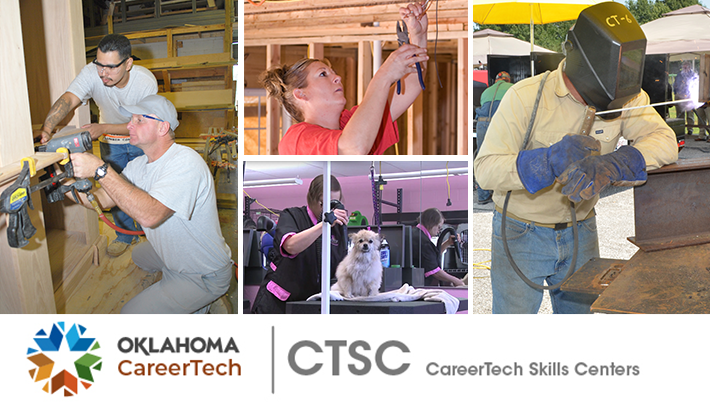 CareerTech Skills Centers Website Banner has 4 images of inmates performing certification skills: two males building cabinetry; female installing electrical wiring; female grooming a small dog; male welding iron