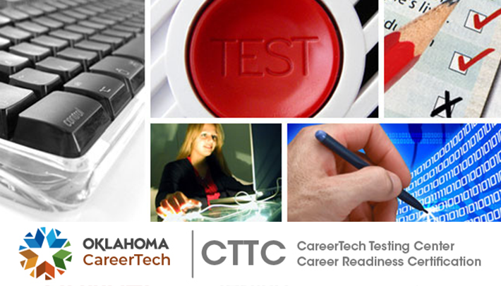CareerTech Testing Center - Career Readiness Certification Web Banner contains 4 images: female holding a computer circuit board; group of students holding their certificates; WorkKeys We Recognize logo; photo of Isaak Noman