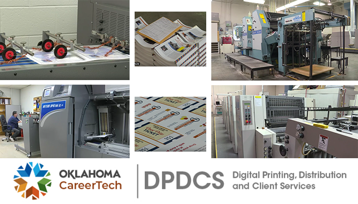 Print Services Website Banner has 4 images of printing press machinery used in printing and bindery as well as 2 images of printed materials