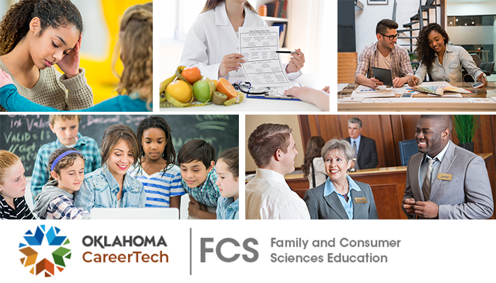 Family and Consumer Sciences Education Website Banner has 5 images: one student comforting another student; dietician pointing to a nutrition chart she is holding; two students looking at color swatches; group of elementary students looking at a laptop with their teacher; two men and a woman engaged in conversation