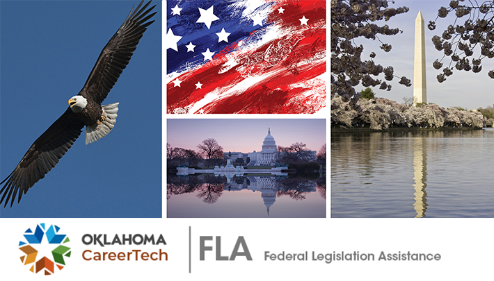 Federal Legislation Assistance Website Banner has 4 images: an eagle soaring; a red, white and blue flag with stars; Washington Monument; and the U.S. White House