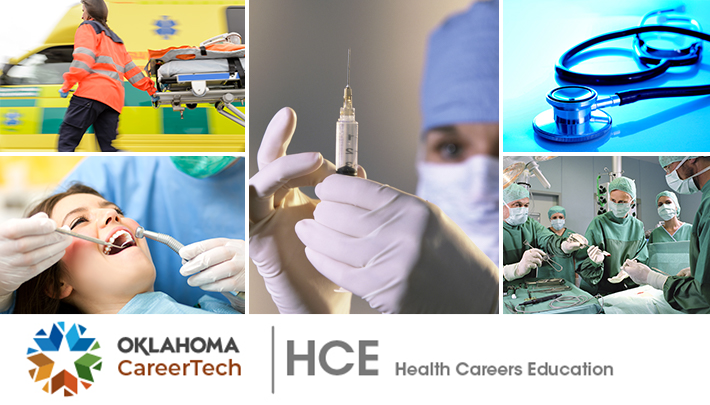Health Careers Education Website Banner has 5 images: EMT pulling a gurney; dental hygienist cleaning female patient's teeth; nurse clearing air out of a syringe; a stethoscope; a surgical team in an operating room