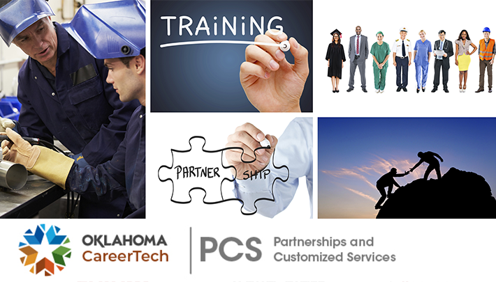 Partnerships & Customized Services Website Banner has 5 images: a student and instructor with welding helmets on; the word Training written on a chalkboard; two puzzle pieces fitting together where one reads partner and the other one reads ship; 8 business people dressed in their appropriate business attire; two people on a rock with one standing on top pulling the other one up from the side