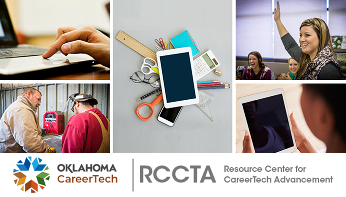 Resource Center for CareerTech Advancement Banner has 5 images: finger on laptop mousepad, a male instructor speaking to a male student in shop class, various office supplies including a smartphone and iPad, classroom with female student raising hand, and a student looking at an iPad screen