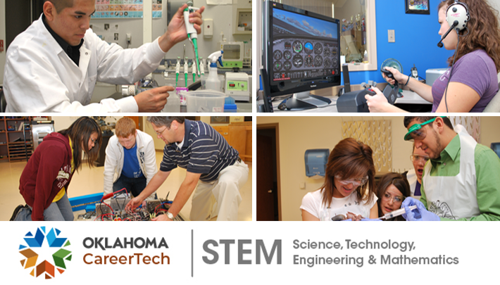 STEM Website Banner has 4 images: biotech lab technician using a dropper for samples; robotics students and instructor working on a project; student using an aircraft pilot simulator; students in biology class with a pig specimen