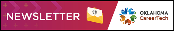 Counseling and Career Development newsletter heading banner contains the word newsletter, an image of an electronic email envelope and the Oklahoma CareerTech logo.