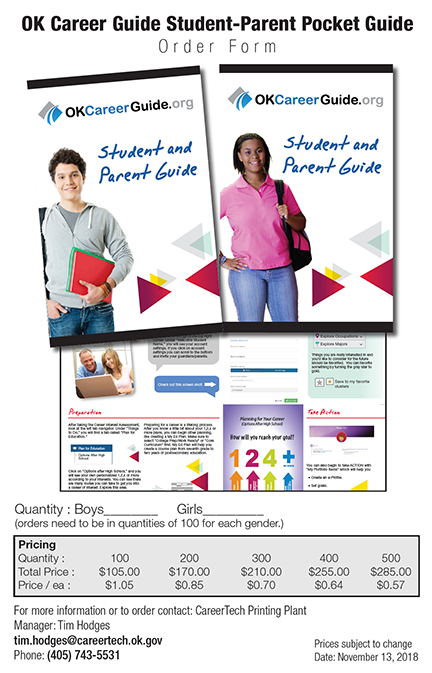 Student and Parent pocket guides to OK Career Guide