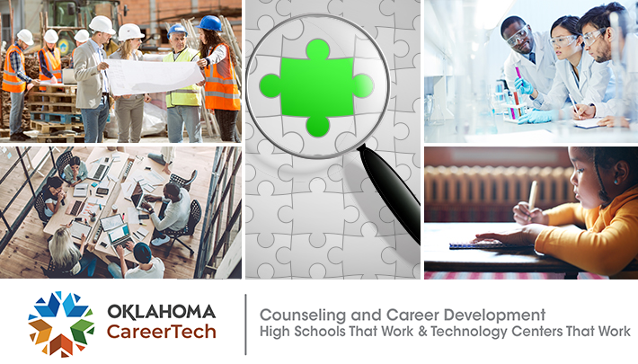 Career Counseling and Development: High Schools That Work & Tech Centers That Work Website Banner consists of 5 images. Group of constructions workers wearing hard hats looking at a blueprint; team of workers on laptops gathered around a conference table; white puzzle with a puzzle piece highlighted in green; three biotechs looking at test tubes; small child writing on paper at a table.
