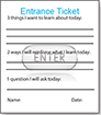 Entrance ticket example