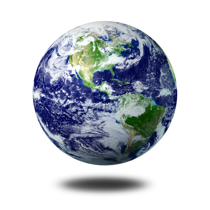 Floating globe of the planet earth, in this case representing the concept of the world wide web.