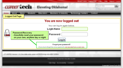 ct united logged out password reset