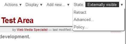 State drop-down menu option for Externally Visible