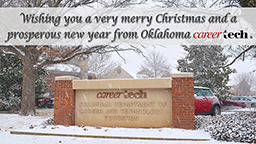 Snow falling on the Oklahoma CareerTech sign. Wishing you a very merry Christmas and a prosperous new year from Oklahoma CareerTech.