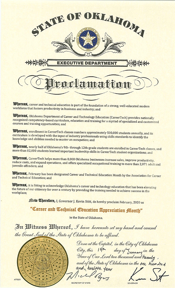 Governor's CTE Month proclamation