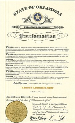A copy of Gov. Kevin Stitt's proclamation of October as Careers in Construction Month in Oklahoma.