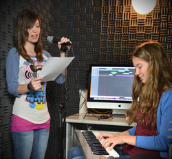 Meridian Tech students learning audio recording.