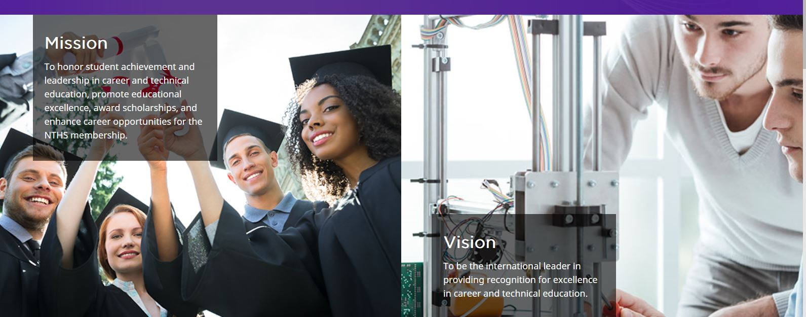 graduates-students images with mission and vision text