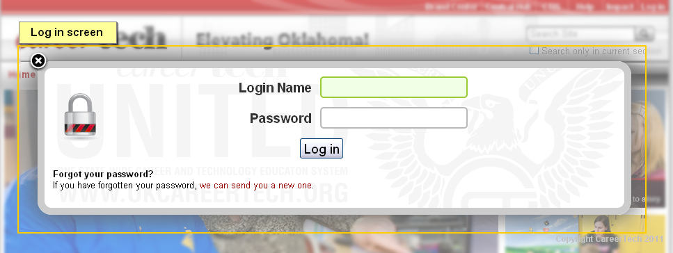 Screen capture of the Log In screen for entering username and password
