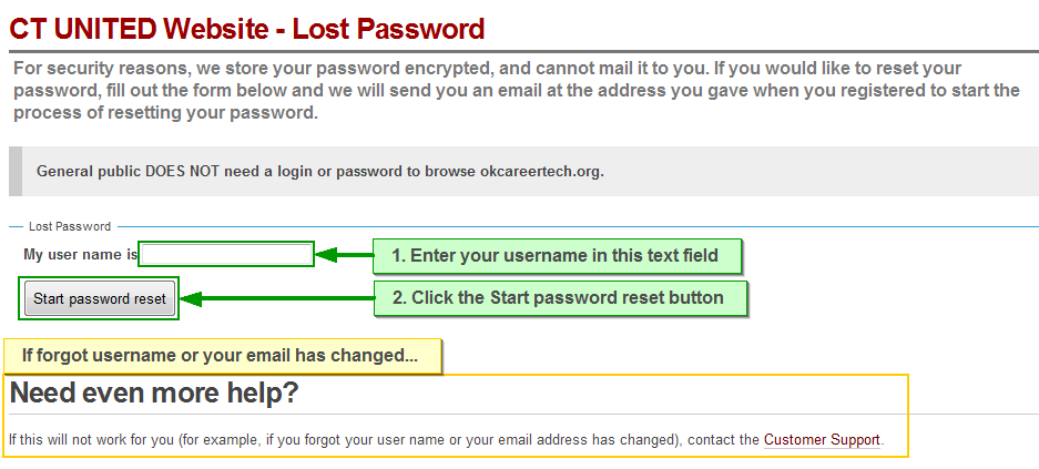 This shows a visual of the password reset screen where you: 1. Enter your username in the text field.  2. Click the Start password reset button.  If forgot username or your email has changed then contact computer support (#173).