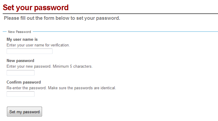 Set your password form screen capture